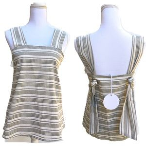 Linen Lux Striped Linen Fabric Tank Top Tunic New